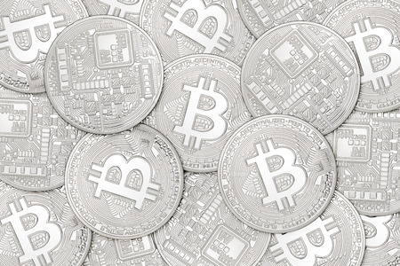 Heap of one silver bitcoins coins. Can be use as background Stock Photo