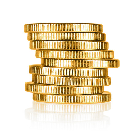 Gold coin stack isolated on white background