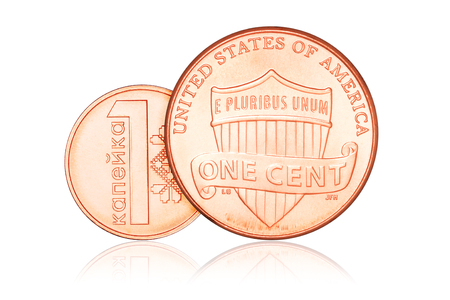 us coin: One cent penny US coin and Belarus copeck on white background. Money exchange concept