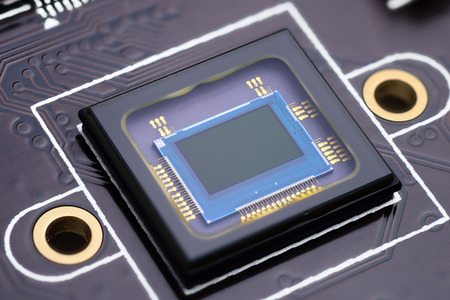 censor: Security camera censor chip on electronic circuit board. Macro shot