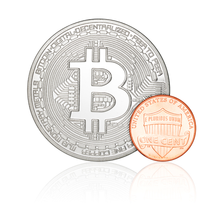 us coin: One cent penny US coin and bitcoin isolated on white background Stock Photo