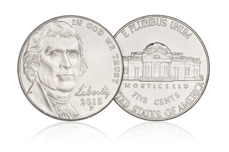 us coin: Five cents nickel US coin, year 2015. Isolated on white background Stock Photo