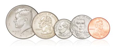 george washington: Conjunto de diferentes monedas de EE.UU. aisladas sobre fondo blanco Foto de archivo