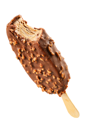 Bitten ice cream chocolate covered isolated on white background with clipping path Banque d'images