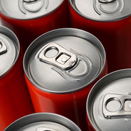Groupe de rouge soda d & # 39 ; aluminium ou de canettes de cacao vue de dessus Banque d'images - 86939361