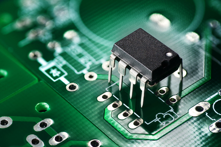 Electronic chip component on the green printed circuit board