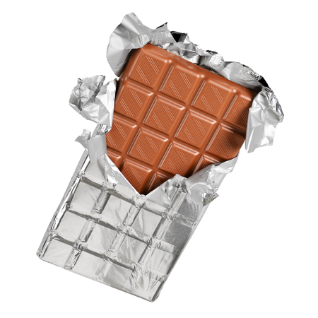 Unwrapped chocolate bar from foil isolated on white background with clipping path Stock Photo