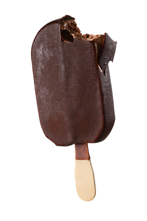 Bitten chocolate popsicle ice cream isolated on white background with clipping path