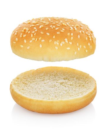 Hamburger bread or bun without anything isolated on white background. Clipping path Stock fotó