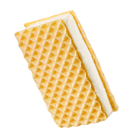 Wafer ice cream sandwich isolated on white background with clipping path
