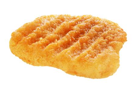 One fresh chicken hamburger patty isolated on white background