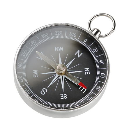 Simple aluminum dry magnetic portable compass isolated on white background