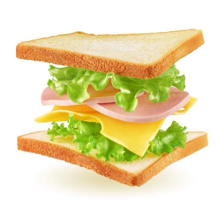 Flying square sandwich with toast, ham, cheese and lettuce isolated on white background Stock Photo