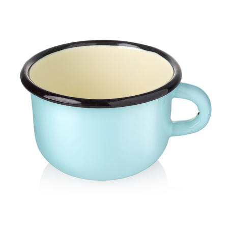 Empty blue enamel cup isolated on white background with clipping path Stock Photo