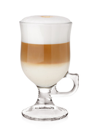 Latte transparent glass or mug with coffe and milk foam isolated on white background