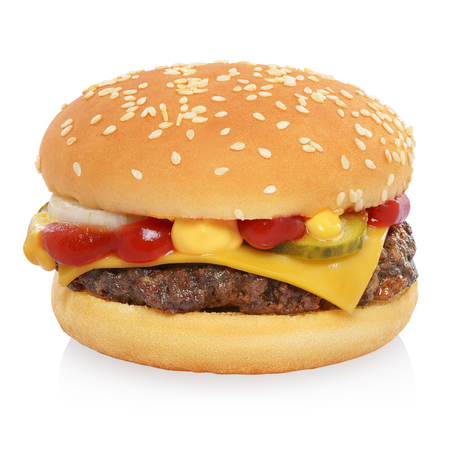 Classic cheeseburger with beef patty, pickles, cheese, tomato, onion, ketchup and mustard isolated on white background.