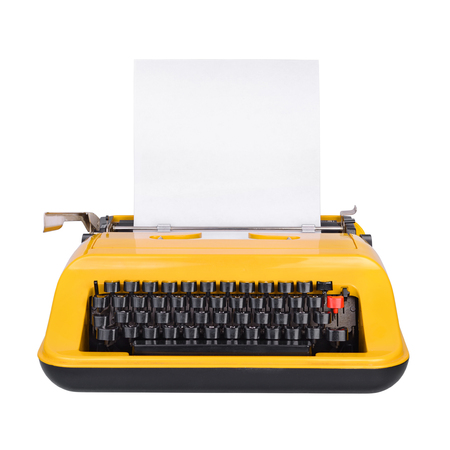 Yellow typewriter with copy space or empty place for your text isolated on white background Stockfoto