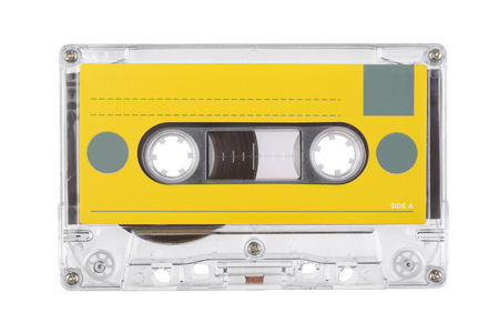 Transparent audio tape compact cassette isolated on white background