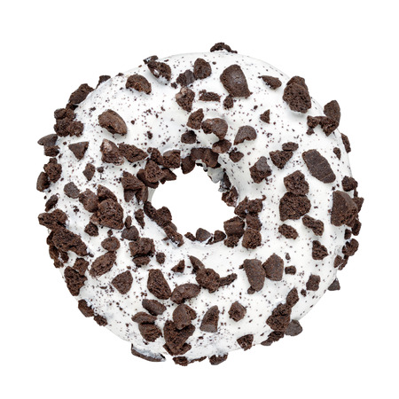 Glazed circle donut with chocolate sprinkles isolated on white background