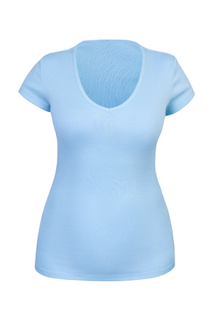 Empty blue V neck T-shirt for woman with invisible or ghost mannequin technique. Isolated. Can be used as mock-up