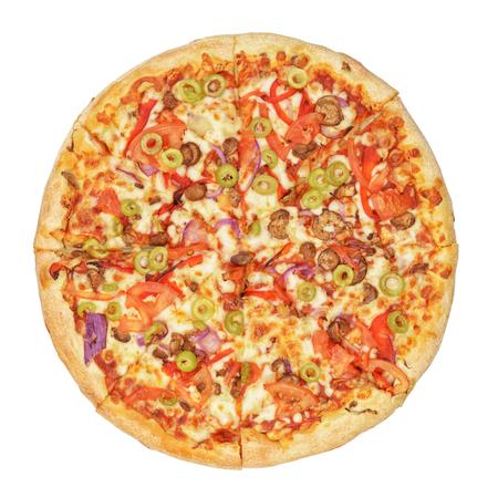 Pizza with pepper, mozzarella cheese, onions, olives, tomato, champignons, sauce, isolated on white background Foto de archivo