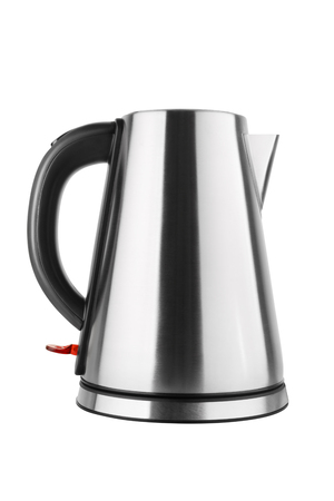 Steel electric kettle with black handle isolated on white background.
