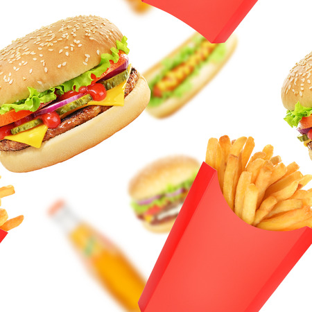 Hamburger, french fries and hot dog on white background. Fast food seamless texture or pattern
