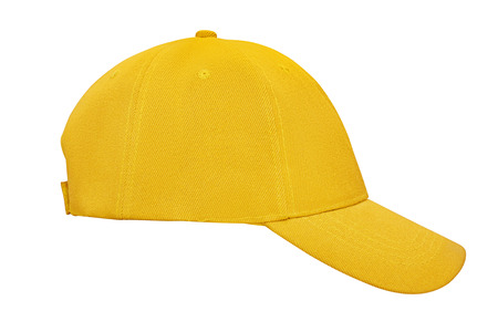 Yellow baseball cap isolated on white background Stok Fotoğraf