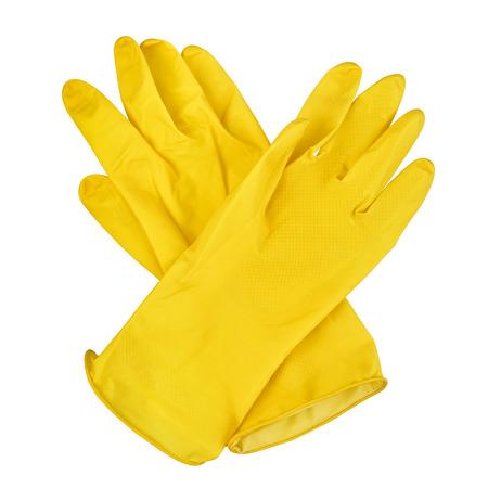 Par de guantes de goma amarillos aislado sobre fondo blanco. Foto de archivo