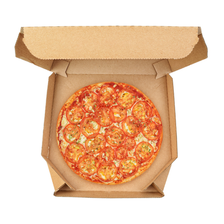 Pizza Margherita with mozzarella cheese, tomatoes and basil in corrugated fiberboard take-out box Stock Photo