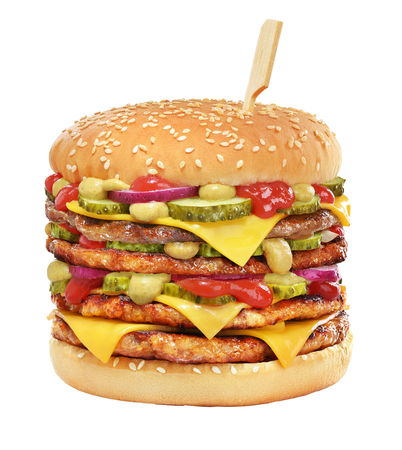 Very high cheeseburger with beef patty, pickles, cheese, tomato ketchup, onion and mustard isolated on white background. Imagens
