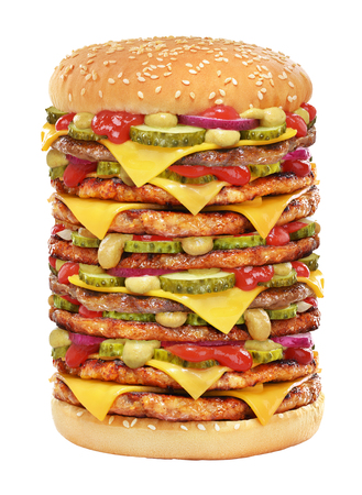 Very large cheeseburger with beef patty, pickles, cheese, tomato ketchup, onion and mustard isolated on white background.