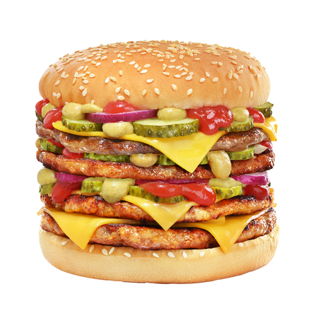 Very high cheeseburger with beef patty, pickles, cheese, tomato ketchup, onion and mustard isolated on white background. Stok Fotoğraf