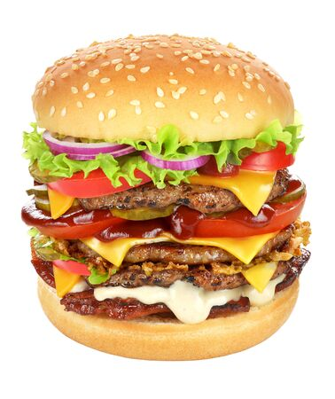 Very big cheeseburger with beef patty, pickles, cheese, tomato ketchup, onion, lettuce and bacon isolated on white background. Banco de Imagens