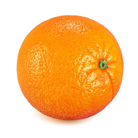 Whole ripe orange fruit isolated on white background