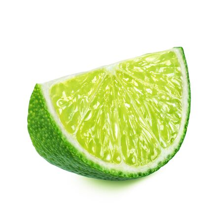 Slice of lime isolated on white background.
