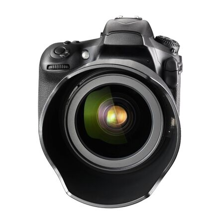 Black professional DSLR camera with zoom lens isolated on white background. Front view