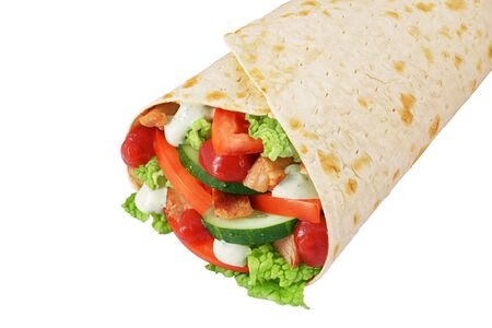 Wrap sandwich with chicken, ketchup, cucumbers, tomato, sauce, nappa cabbage isolated on white background