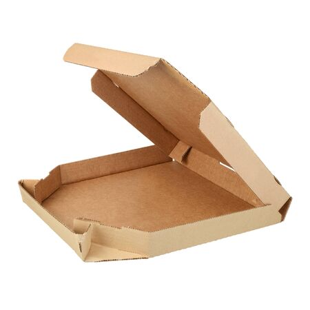 Empty opened take-out container for pizza made from brown corrugated fiberboard isolated on white. Side view
