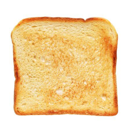Pane tostato isolato su sfondo bianco con tracciato di ritaglio. Vista dall'alto