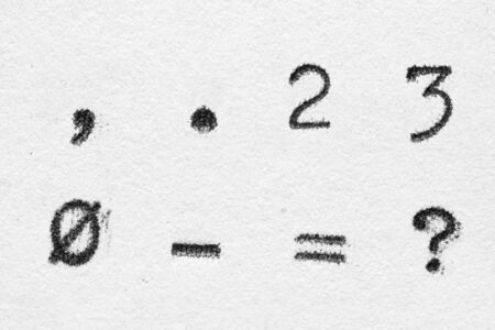 Real typewriter font alphabet with digits 2, 3, 0, symbols comma, dot, dash, equal, question mark on white paper. Macro shot 스톡 콘텐츠