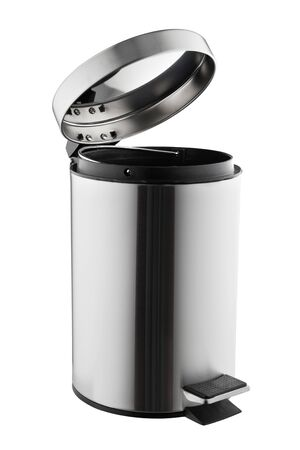 Metal trash can with opened lid isolated on white background