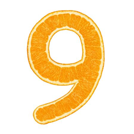 Digit 9 (number nine) made from orange fruit isolated on white background with clipping path