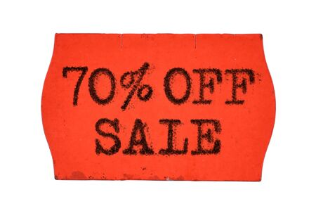 70 OFF percent Sale printed with typewriter font on red price tag sticker isolated on white background