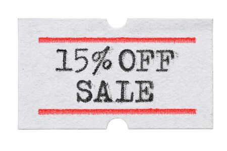 15 % OFF Sale printed with typewriter font on price tag sticker isolated on white background Stockfoto
