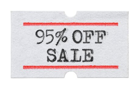 95 % OFF Sale printed with typewriter font on price tag sticker isolated on white background