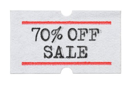 70 % OFF Sale printed with typewriter font on price tag sticker isolated on white background Stockfoto