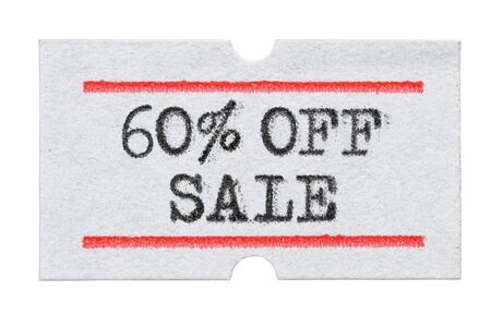 60 % OFF Sale printed with typewriter font on price tag sticker isolated on white background