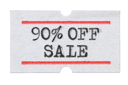 90 % OFF Sale printed with typewriter font on price tag sticker isolated on white background