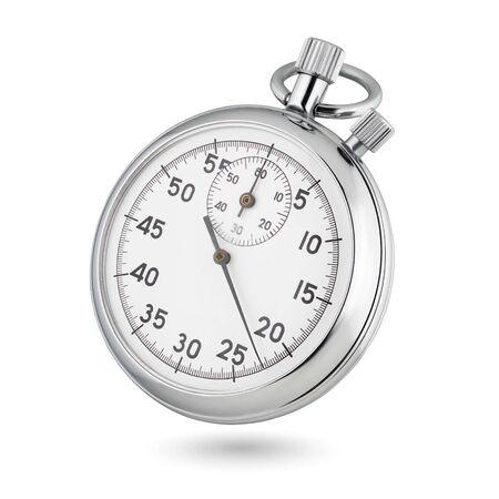 Chronomètre analogique mécanique classique en chrome métallique isolé sur fond blanc. Banque d'images
